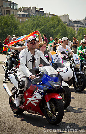 Gay men on motocycles during Gay Pride Editorial Photo