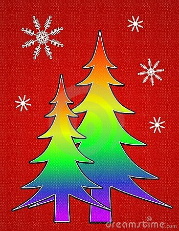 Gay Pride Flag Christmas Tree Card 2