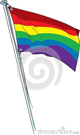 Gay pride flag waving
