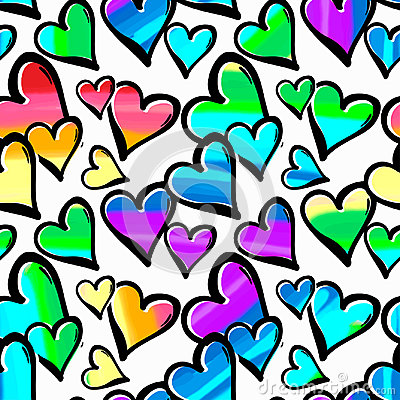 Free Gay Pride Rainbow Colored Hearts Seamless Pattern. Royalty Free Stock Images - 94638779