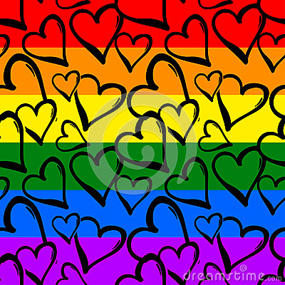 Free Gay Pride Rainbow Colored Hearts Seamless Pattern. Royalty Free Stock Images - 94638819