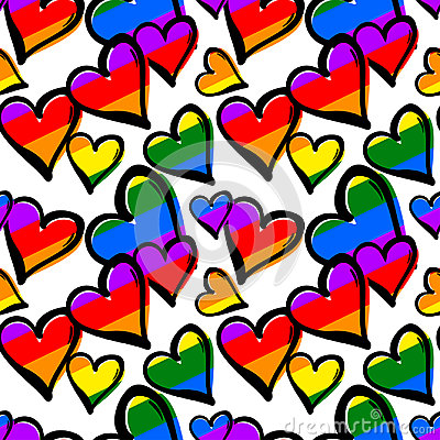 Free Gay Pride Rainbow Colored Hearts Seamless Pattern. Royalty Free Stock Photo - 94638935