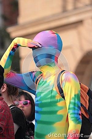 Gay rainbow costume Editorial Stock Photo