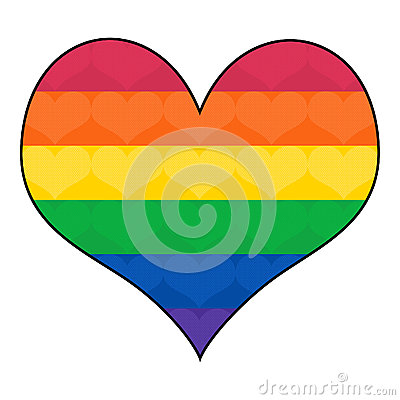 Gay Rainbow flag in Heart Shape
