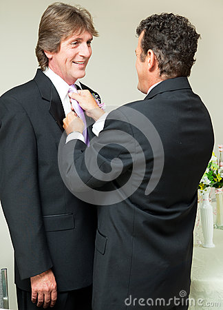 Gay Wedding - Straightening the Tie