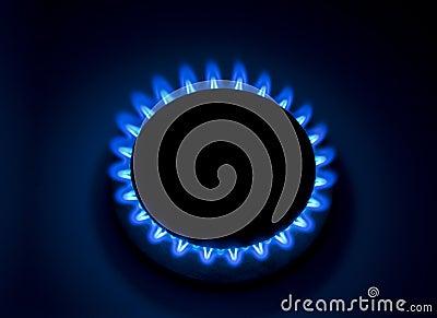 Gaz naturel brûlant