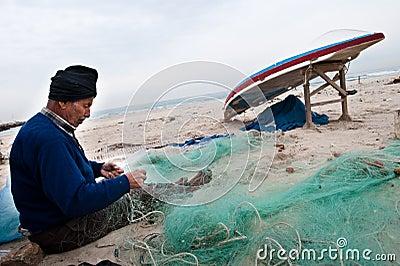 Gaza Fisherman Mending Nets Editorial Stock Photo