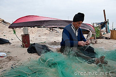 Gaza Fisherman Mending Nets Editorial Stock Photo