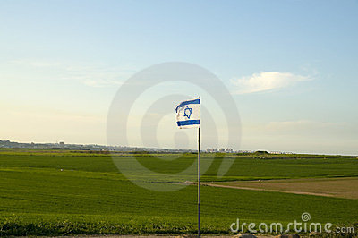 Gaza strip with Israeli flag in-front