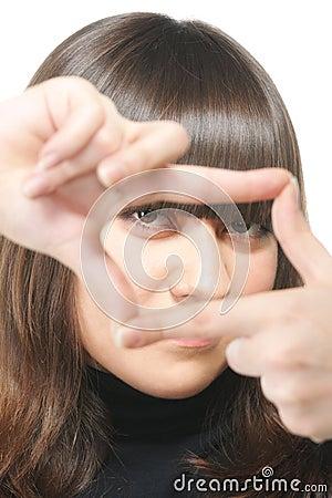 Gaze through square finger frame
