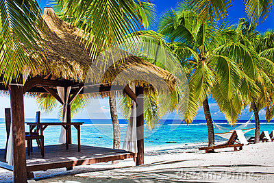 Gazebo with chairs on deserted beach with palm trees