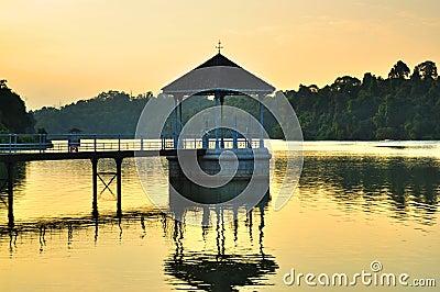 A gazebo at the reservoir on sunset
