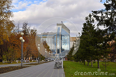 Gazoil-Plaza, business center. Tyumen, Russia. Editorial Stock Photo