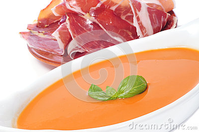 Gazpacho and spanish serrano ham