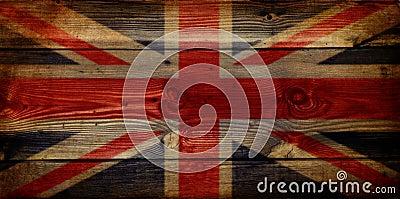 GB Union Jack Flag on grunge wooden background