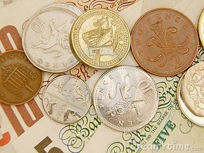 GBP banknotes and coins