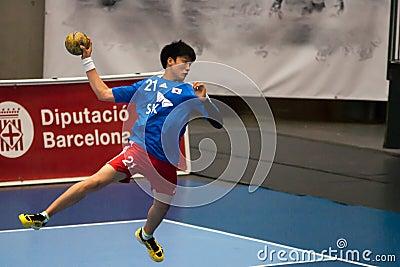 GCUP 2013年手球。格拉诺列尔斯。 编辑类库存照片