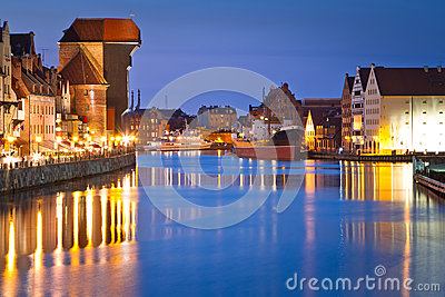 Gdansk with ancient crane at night