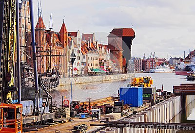 Gdansk Cityscape and Moltawa River in Poland Editorial Stock Image
