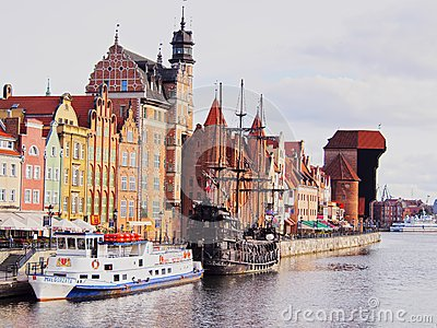 Gdansk Cityscape and Moltawa River in Poland Editorial Photo