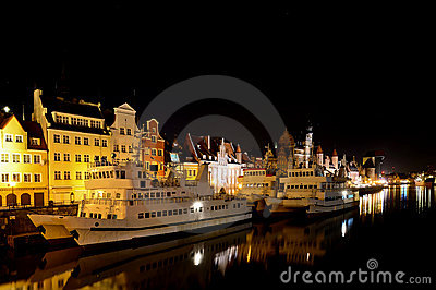 Gdansk harbor at night