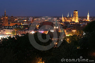 Gdansk panorama by night