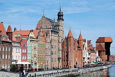 Gdansk, Poland: Old Quay Mansions Editorial Stock Photo