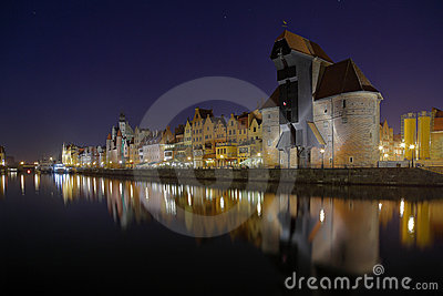 Gdansk of Riverside at night