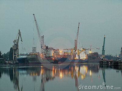 Gdansk shipyard at dawn