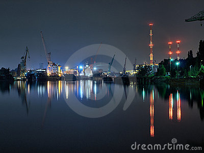 Gdansk shipyard at night