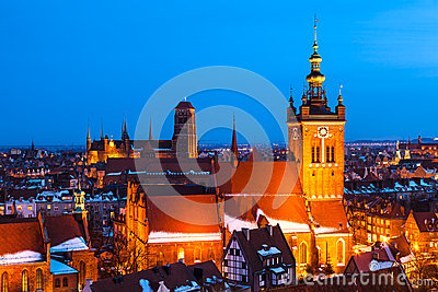 Gdansk-Skyline, Pomerania, Polen
