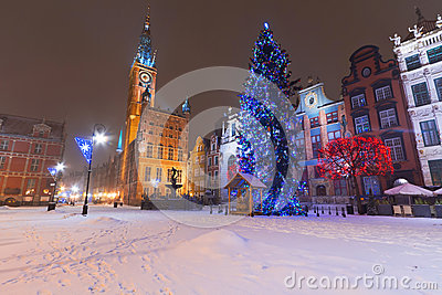 Gdansk in winter scenery with Christmas tree