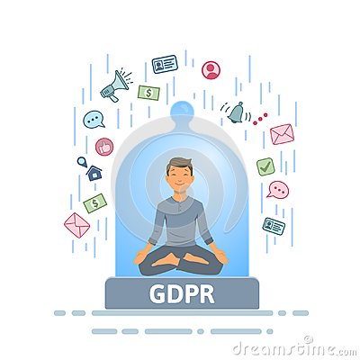 Free GDPR Security. Meditating Man Feeling Safe From Information Stream Inside Of Glass Dome. Flat Vector Illustration Royalty Free Stock Images - 117233329