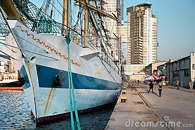 GDYNIA - SEPTEMBER 05: Tall ship Editorial Stock Photo