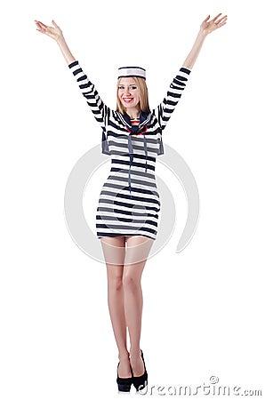 Geïsoleerdee de zeeman van de vrouw