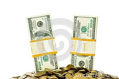 Geïsoleerdee dollars en muntstukken