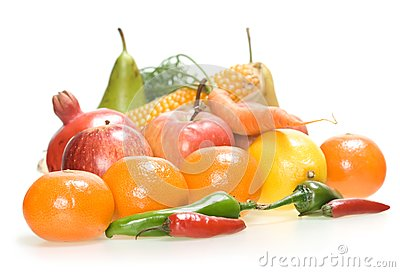 Geïsoleerde groenten & vruchten