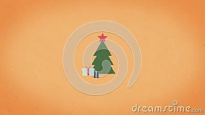 Geanimeerde abstracte kerstcadeaukaart Illustratie met kerstachtergrond xmas-structuur met cadeau stock footage