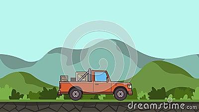 Geanimeerde pick-up met dozen in de boomstam die door groene vallei berijden Bewegende leveringsauto op heuvelig landschap vector illustratie