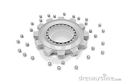 Gear and ball bearing