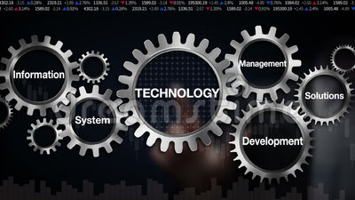 Gear with keyword, information management development system, solutions. Businessman touch screen 'Technology'. (included alpha)