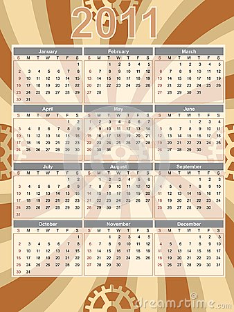 Gear Theme 2011 Brown Swirl Calendar