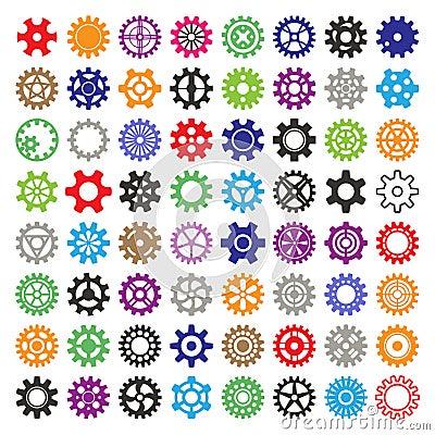 Free Gear Vector Mechanism Icons Isolated Illustration. Mechanics Web Development Shape Work Cog Multicolor Gear Sign. Engine Stock Photography - 111139422