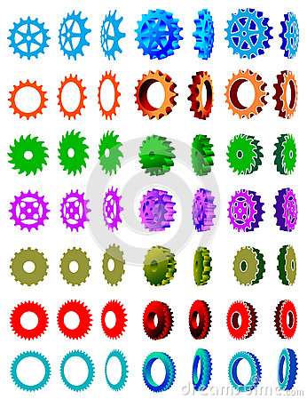 Gear wheels clip art set
