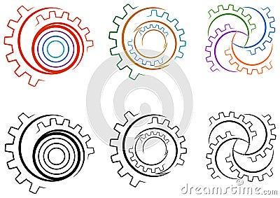 Gear wheels logo set