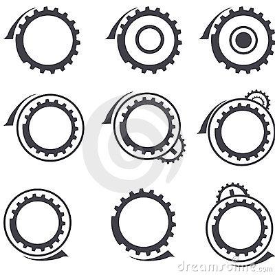 Gear wheels vector logos and graphic design elemen