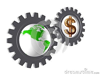 Gear-wheels with world globe and dollar
