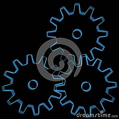 Gears (3D xray blue)