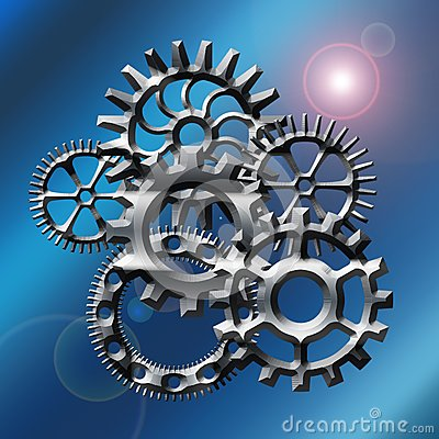 Gears in blue with flare