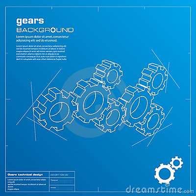 Gears blueprint background. Vector.